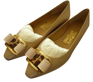 Salvatore Ferragamo Italian Logo Leather Beige Flats