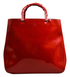 Gucci Patent Leather Double Bamboo Textured Handle Tote in Red