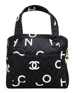 Chanel Vintage White Canvas Printed Letter Quilted Double Shoulder Bag