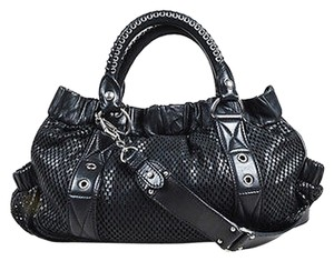Miu Miu Leather Perforated Grommet Accent Tote in Black