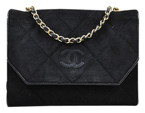 Chanel Vintage Suede Leather Quilted Gold Tone Chain Link Shoulder Bag