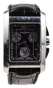 Baume & Mercier Mens Baume Mercier Black Alligator Leather Stainless Steel Hampton Watch