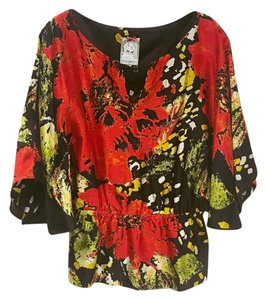Anthropologie Top Black, Red, Green, Yellow, White