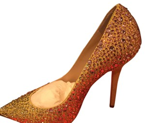 La Perla golden with gold and pink crystals Pumps