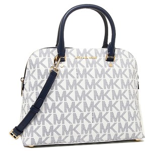 Michael Kors Navy Cindy Satchel in white