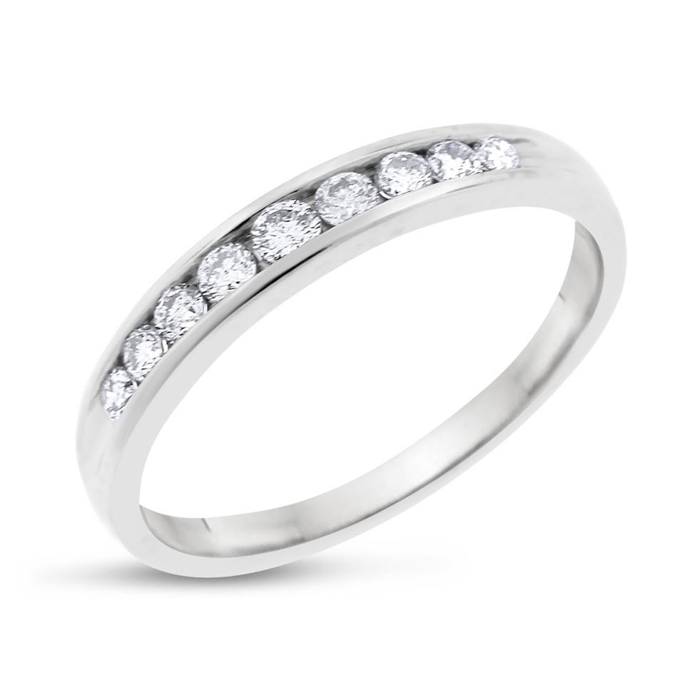 80356467f 0.30 Ct Natural Nine Diamond Wedding Band In Solid 14k White Gold Ring
