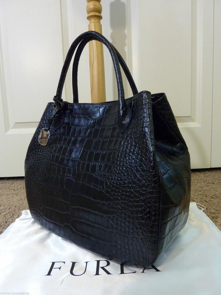 Embossed Croc Black Giselle Leather Furla Tote Distressed pxqfZnwI0