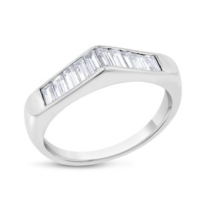 Other 0.90 CT Natural Diamond Baguette Peaked Wedding Band Solid 14k White