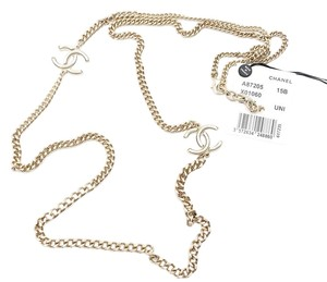 Chanel Brand New Chanel White Pop up CC Gold Chain Necklace
