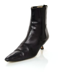 Manolo Blahnik Manolo Ankle Leather Black Boots