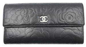 Chanel Chanel Black Camellia Emboss Long Wallet