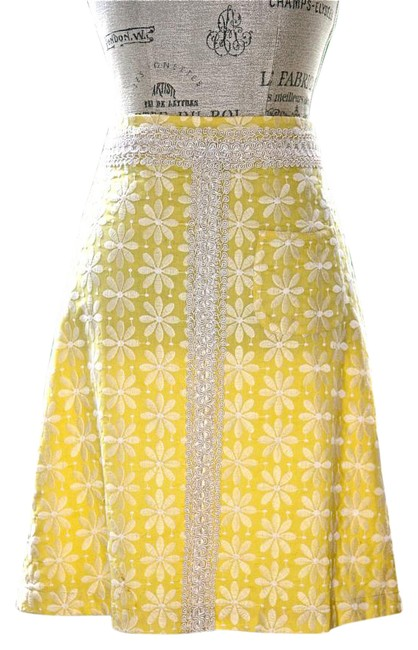 Item - Yellow Flowers Floral Skirt Size 4 (S, 27)