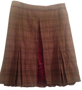 Dolce&Gabbana Checkered Burgundy Lace Skirt Brown plaid
