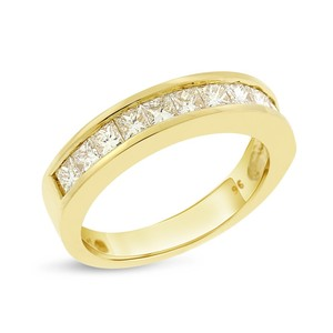 0.96 CT Natural Diamond Princess Cut Wedding Band in Solid 14k Yellow