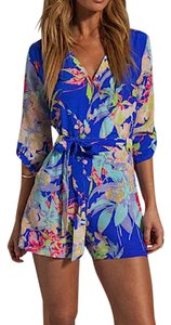 Yumi Kim Waist Liz Zean Floral Hawaiian Flower 3/4 Long Sleeve Dress