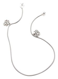 Chanel Rare Chanel Silver Baguette Crystal Long Link Piercing Earrings