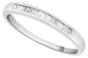 0.15 CT Natural Diamond Baguette Wedding Band in Solid 14k White Gold
