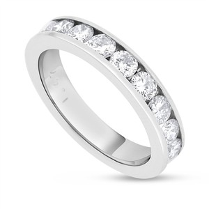 Other 1.47 CT Natural Round Diamond Wedding Channel Set Band Solid 14k White