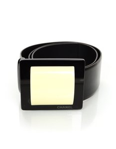 Chanel Chanel Black Patent Wide Belt sz EU75