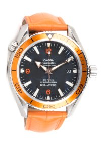 Omega Omega Seamaster Planet Ocean Watch With Orange Leather Band