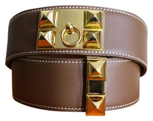 Hermès SALE!!! 75 CM HERMES COLLIER De CHIEN MEDORU BROWN BELT EXCELLENT