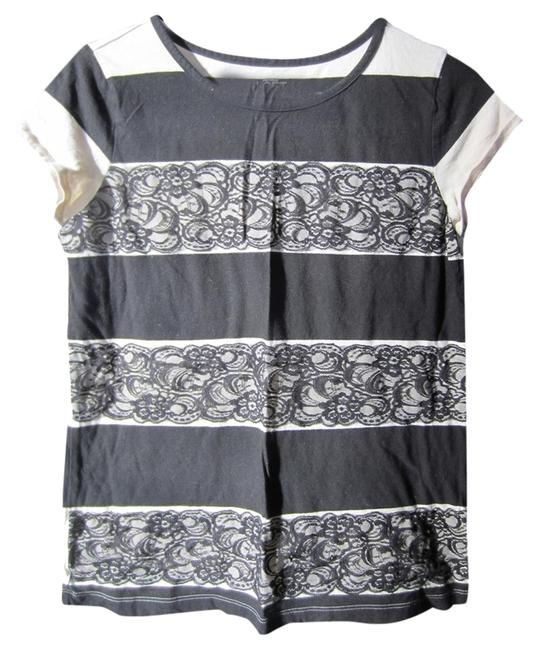 Item - Black and Tan Striped Lace Tee Shirt Size 8 (M)