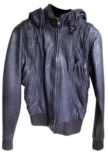 Barneys New York Vest Purple Leather Jacket