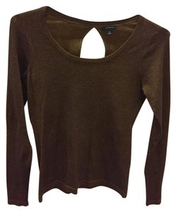 Ann Taylor Bronze Metallic Cut-out Top Bronze Metallic