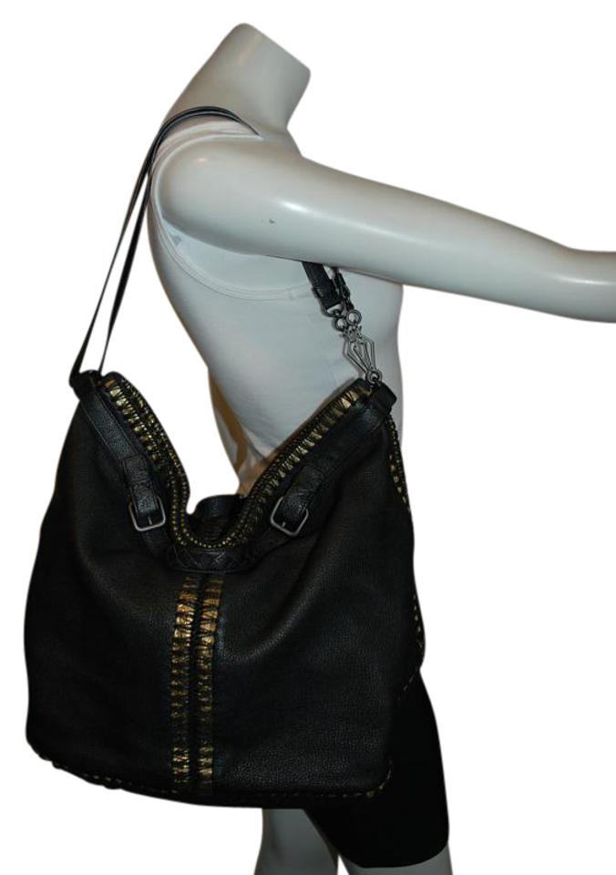 c1494e0a1828 Bottega Veneta 3 W  Metallic Trim Textured Tote Handbag Ho Black Leather Hobo  Bag