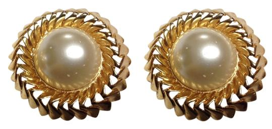 Chanel CHANEL Faux Pearl 18kt Gold Plating Clip-on Earrings