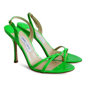 Jimmy Choo Heels Patent Leather Slingback Crisscross Strap Strappy Green Sandals