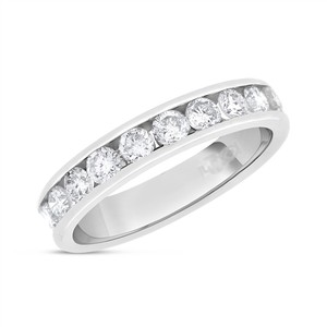 1.00 CT Natural Round Diamond Channel Set Wedding Band Solid 14k White