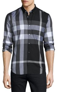 Burberry Mens Shirt Size 2x Bnwt Button Down Shirt black, white, grey