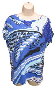 Emilio Pucci Pucci Short Sleeve Top Blue Multi