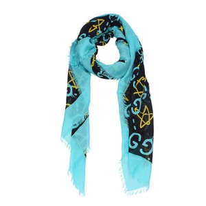 Gucci Ghost Blue / Yellow Writer Scarf