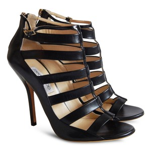 Jimmy Choo Strappy Open Toe Evening Leather Black Sandals