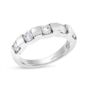 1.00 CT Natural Diamond Round Five Stone Anniversary Band in Solid