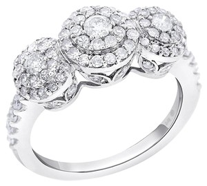 Other 1.00 CT Natural Diamond Three Stone Illusion Setting Ring in Solid 14k