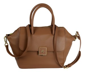 Tory Burch Pebbled Leather Crossbody Clara Front Flap Satchel in Brown