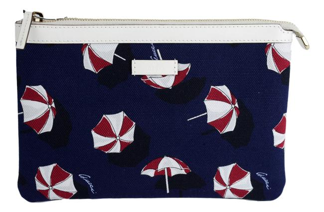 """Item - Navy Clutch """"Parasols"""" Canvas White Leather Trim Cosmetic Bag"""