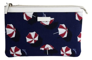 """Gucci Gucci """"Parasols"""" Navy Canvas White Leather Trim Cosmetic Bag Clutch"""