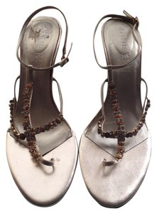 Anne Klein Rhinestones Metallic Platinum Sandals