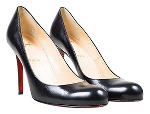 Christian Louboutin Leather Round Toe Simple 100mm Black Pumps