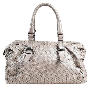 Bottega Veneta Intrecciato Leather Double Handle Buckled Satchel in Gray