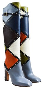 Valentino Leather Patchwork Studded Knee High Dotcom Multi-Color Boots