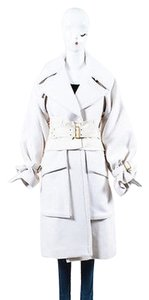 Gucci Runway Fw 2003 Cream Wool Angora Wide Belted Trench Coat