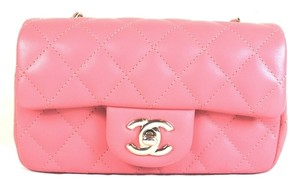 Chanel Classic Flap Lambskin Rose Shoulder Bag