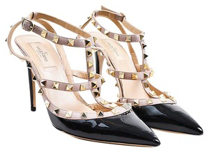 Valentino Gold Tone Patent Leather Rockstud T Strap Black Pumps
