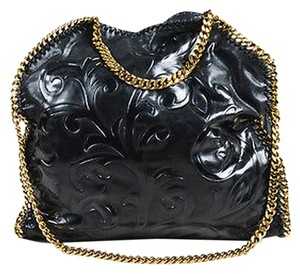 Stella McCartney Shiny Leather Embossed Gold Chain Link Falabella Tote in Black