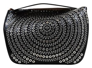 ALAÏA Alaia Silver Leather Grommet Detailed Sac Perme Pm Tote in Black